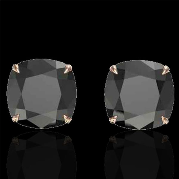 12 ctw Cushion Black Diamond Designer Earrings 14k Rose Gold - REF-290H9R
