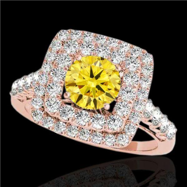 2.05 ctw Certified SI/I Fancy Intense Yellow Diamond Ring 10k Rose Gold - REF-204M5G