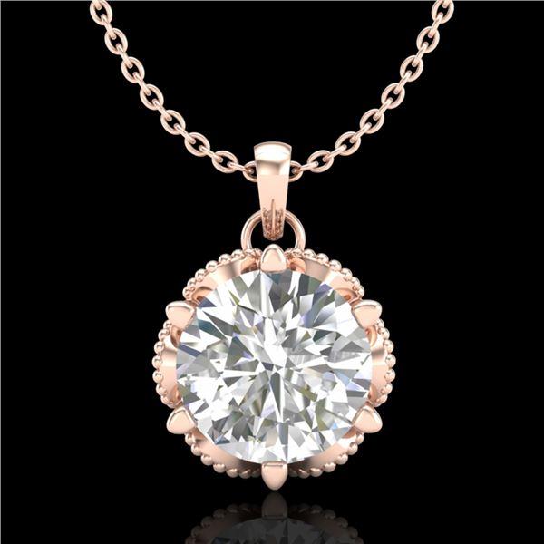 1.36 ctw VS/SI Diamond Solitaire Art Deco Necklace 18k Rose Gold - REF-361H8R