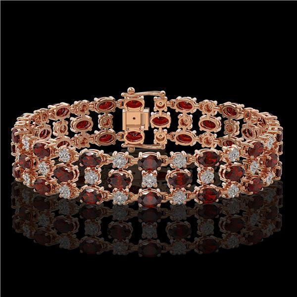 24.68 ctw Garnet & Diamond Bracelet 10K Rose Gold - REF-227H3R