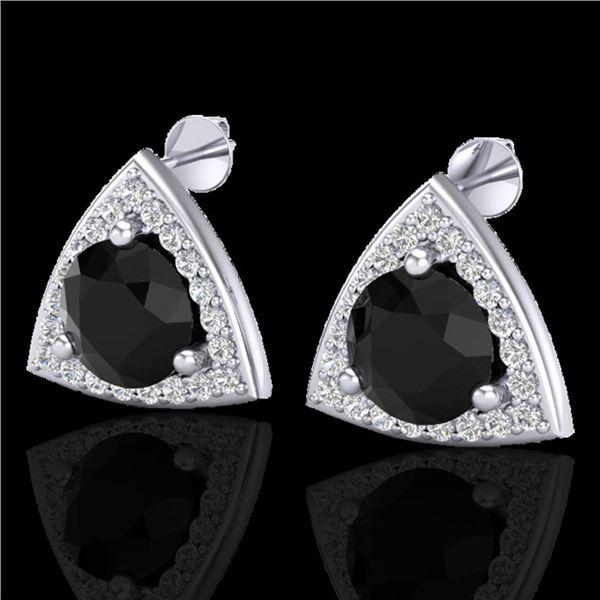 3.50 ctw Micro Pave Black Diamond Stud Earrings 18k White Gold - REF-136Y4X