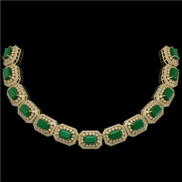 137.65 ctw Emerald & Diamond Victorian Necklace 14K Yellow Gold - REF-3181K8Y
