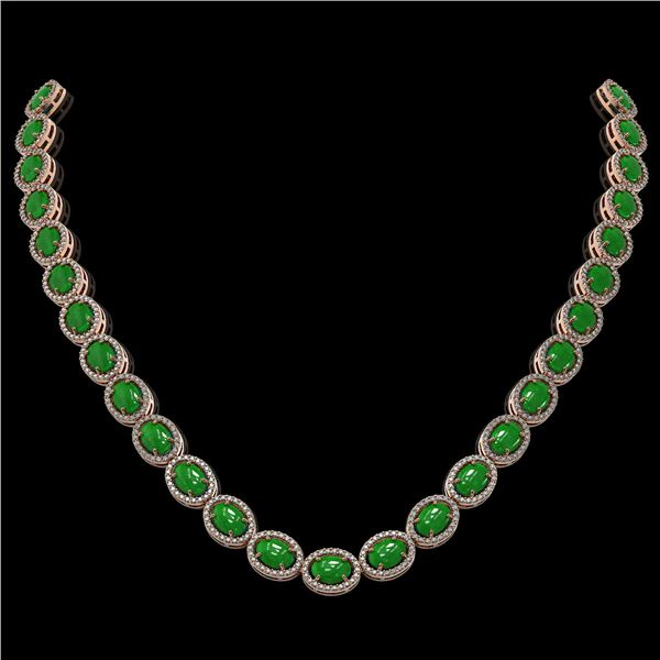 49.93 ctw Jade & Diamond Micro Pave Halo Necklace 10k Rose Gold - REF-563A5N