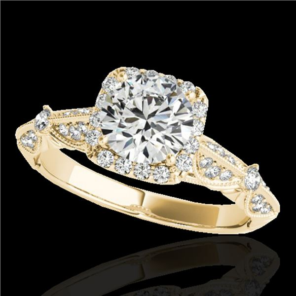 1.36 ctw Certified Diamond Solitaire Halo Ring 10k Yellow Gold - REF-204Y5X