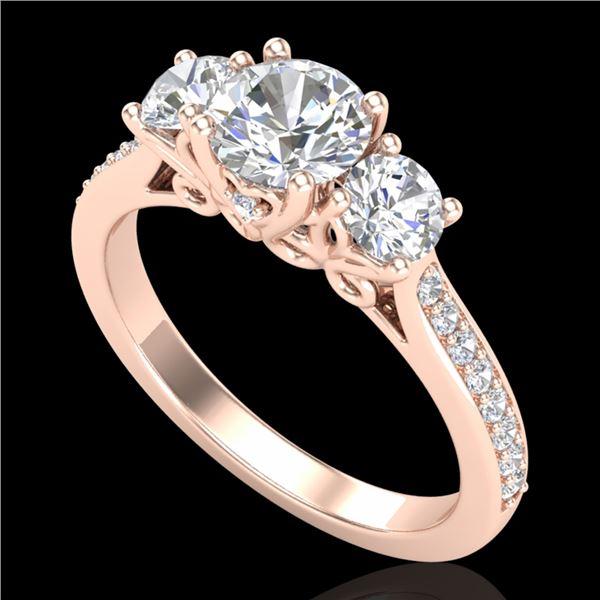 1.67 ctw VS/SI Diamond Solitaire Art Deco 3 Stone Ring 18k Rose Gold - REF-281W8H