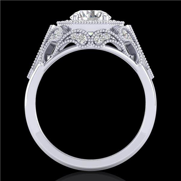 1.75 ctw VS/SI Diamond Solitaire Art Deco Ring 18k White Gold - REF-436R4K