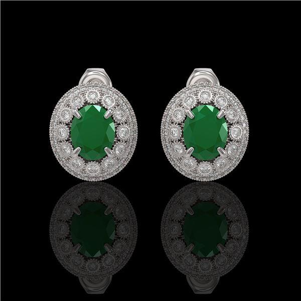 8.84 ctw Certified Emerald & Diamond Victorian Earrings 14K White Gold - REF-227W3H
