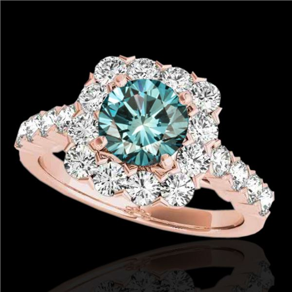 2.5 ctw SI Certified Fancy Blue Diamond Solitaire Halo Ring 10k Rose Gold - REF-170M5G