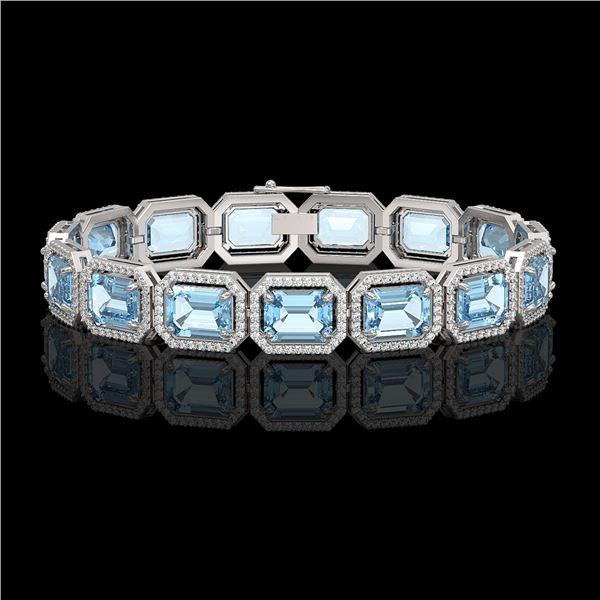 35.61 ctw Sky Topaz & Diamond Micro Pave Halo Bracelet 10k White Gold - REF-323H6R