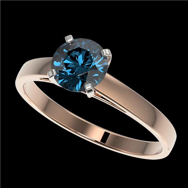 1 ctw Certified Intense Blue Diamond Engagment Ring 10k Rose Gold - REF-97R2K