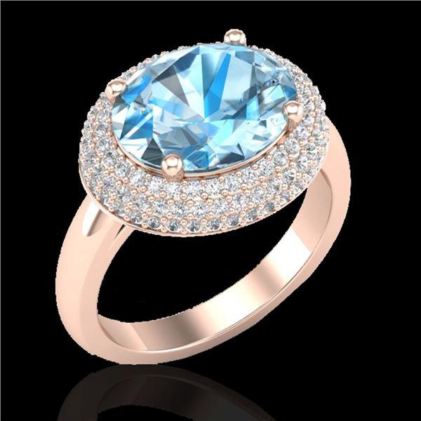 5 ctw Sky Blue Topaz & Micro Pave VS/SI Diamond Ring 14k Rose Gold - REF-90A2N