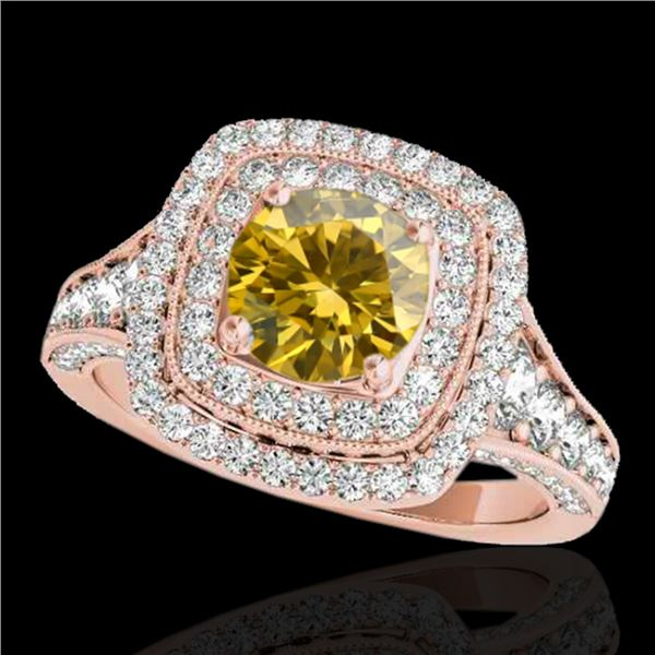 2 ctw Certified SI/I Fancy Intense Yellow Diamond Halo Ring 10k Rose Gold - REF-231H8R
