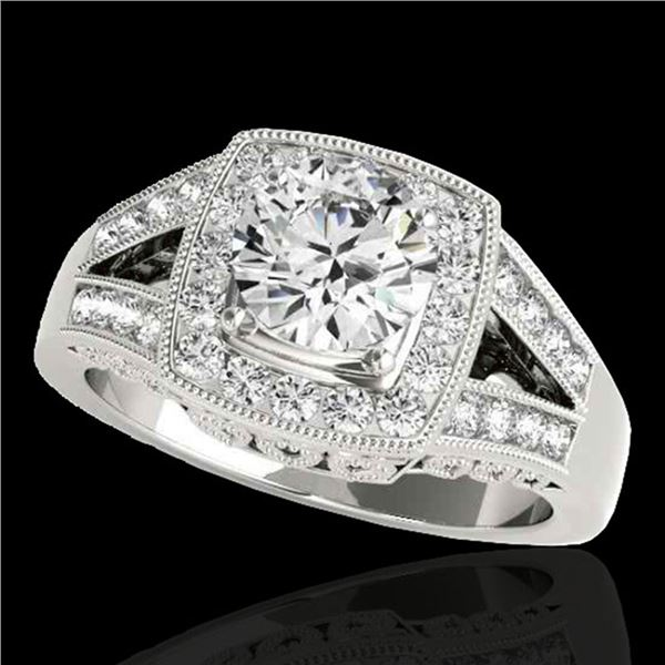 1.65 ctw Certified Diamond Solitaire Halo Ring 10k White Gold - REF-270W2H