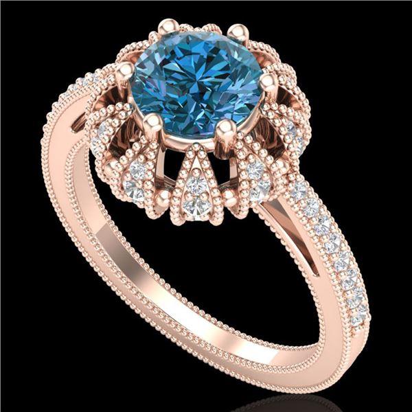 1.65 ctw Fancy Intense Blue Diamond Art Deco Ring 18k Rose Gold - REF-230A9N