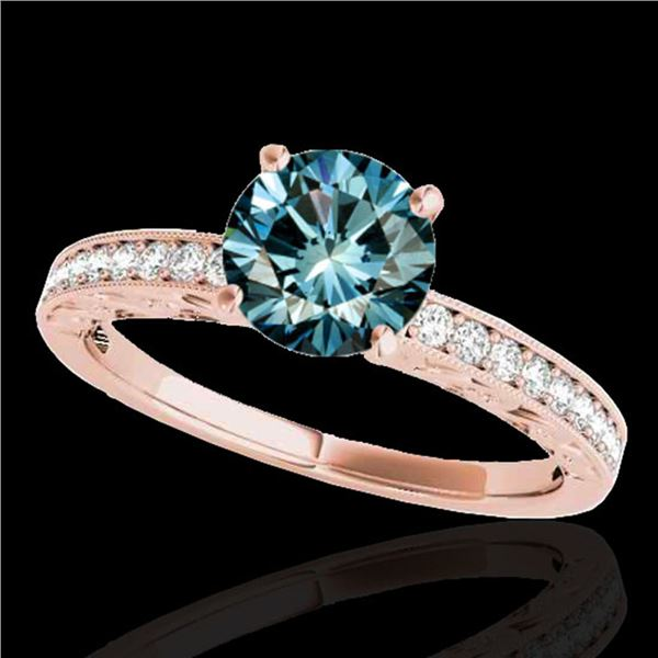 1.18 ctw SI Certified Blue Diamond Solitaire Antique Ring 10k Rose Gold - REF-120N2F