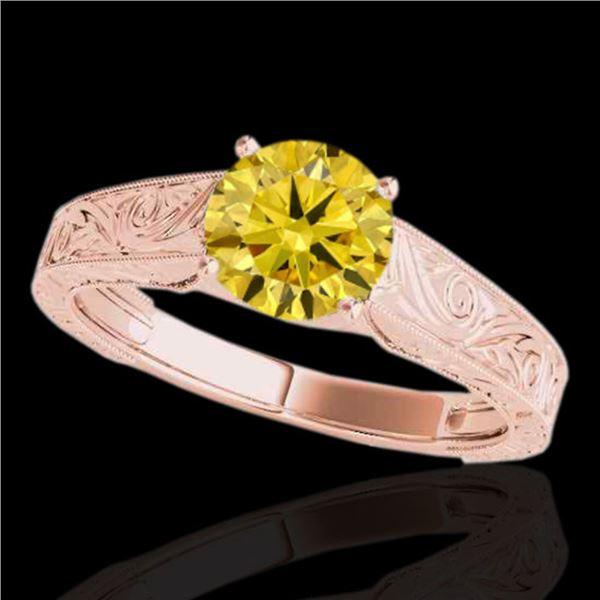 1 ctw Certified SI/I Fancy Intense Yellow Diamond Ring 10k Rose Gold - REF-177Y3X