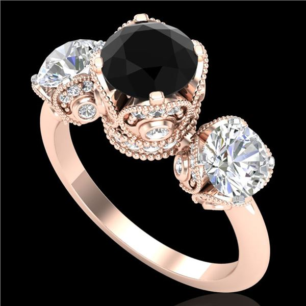 3 ctw Fancy Black Diamond Art Deco 3 Stone Ring 18k Rose Gold - REF-318A2N