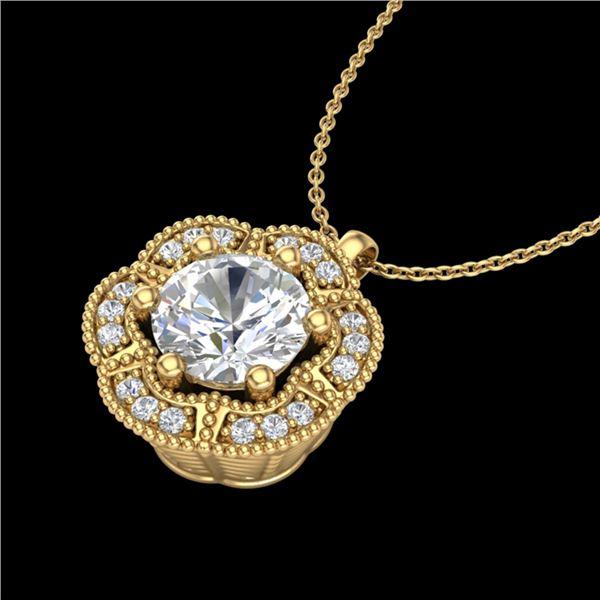 1.01 ctw VS/SI Diamond Solitaire Art Deco Necklace 18k Yellow Gold - REF-245K5Y