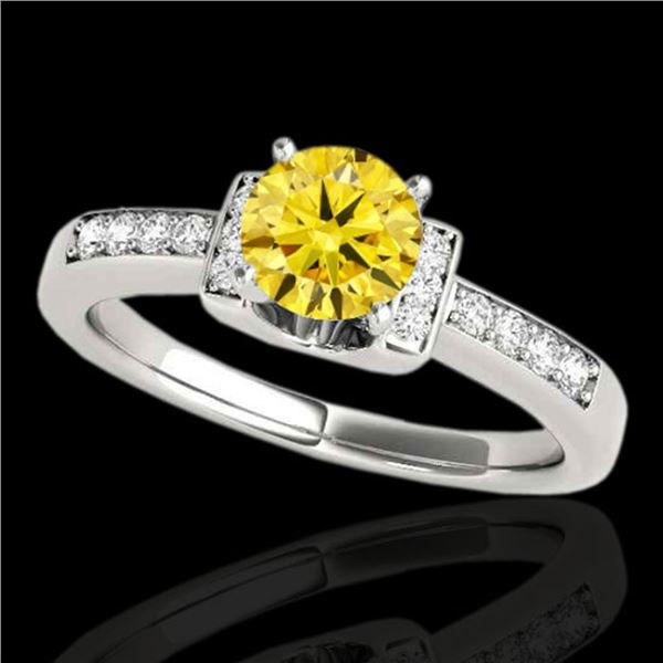 1.11 ctw Certified SI Fancy Yellow Diamond Solitaire Ring 10k White Gold - REF-190X9A