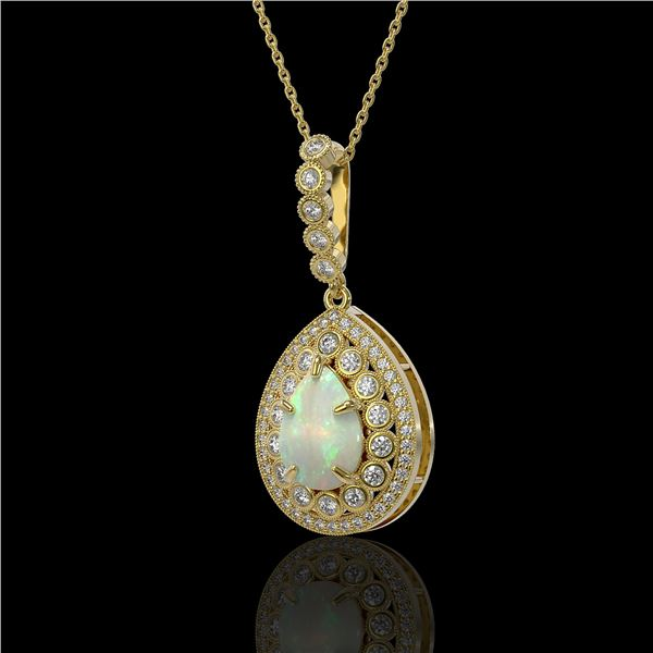 4.14 ctw Certified Opal & Diamond Victorian Necklace 14K Yellow Gold - REF-139N3F