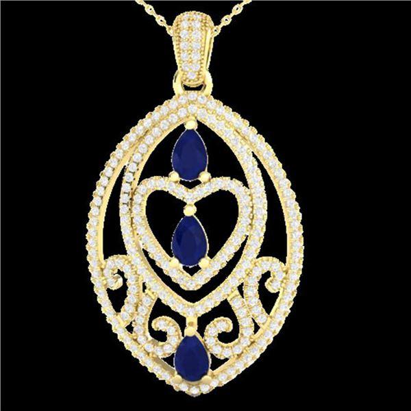 3.50 ctw Sapphire & Micro VS/SI Diamond Heart Necklace 18k Yellow Gold - REF-218W2H