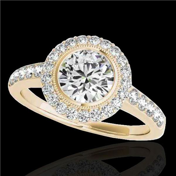 1.5 ctw Certified Diamond Solitaire Halo Ring 10k Yellow Gold - REF-218H2R