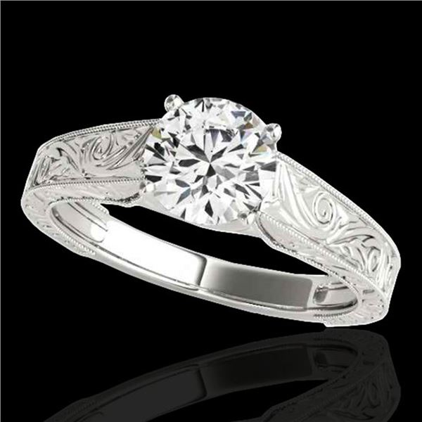 1 ctw Certified Diamond Solitaire Ring 10k White Gold - REF-177K3Y