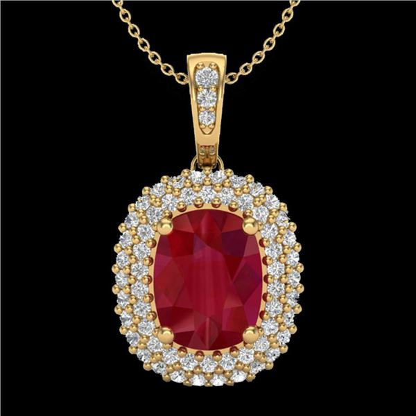 3.15 ctw Ruby & Micro Pave VS/SI Diamond Necklace 18k Yellow Gold - REF-90K2Y