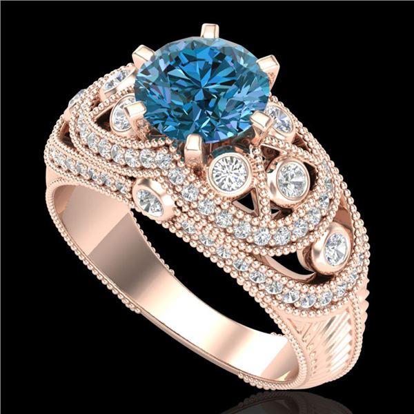 2 ctw Intense Blue Diamond Engagment Art Deco Ring 18k Rose Gold - REF-345G5W
