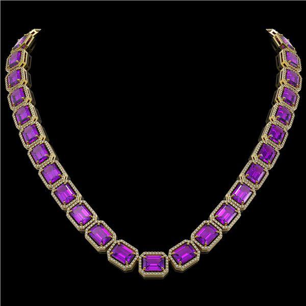 76.69 ctw Amethyst & Diamond Micro Pave Halo Necklace 10k Yellow Gold - REF-711G3W