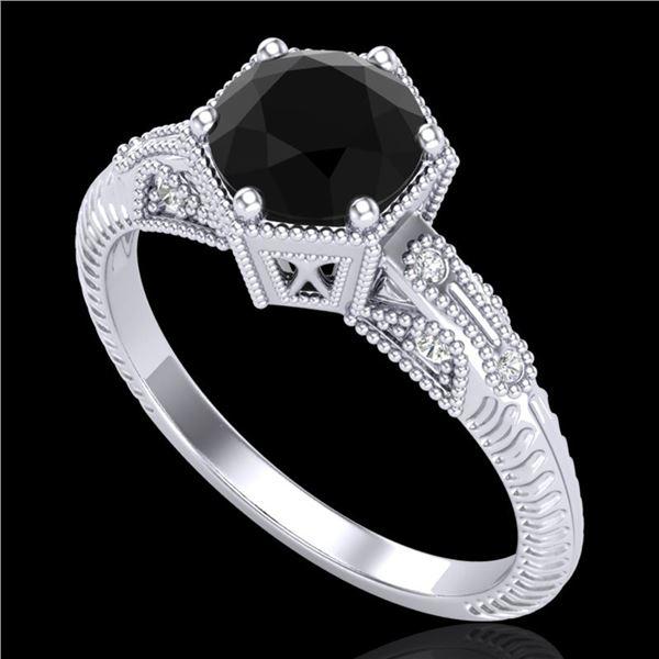 1.17 ctw Fancy Black Diamond Engagment Art Deco Ring 18k White Gold - REF-85Y5X