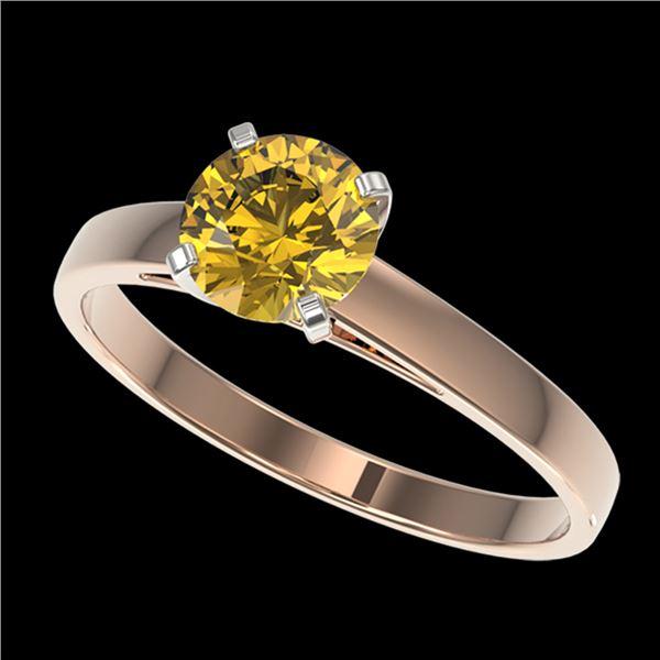 1 ctw Certified Intense Yellow Diamond Engagment Ring 10k Rose Gold - REF-163W2H