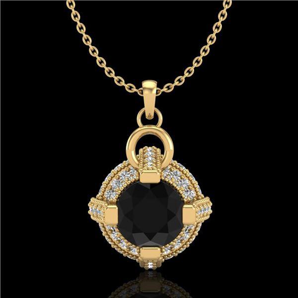 1.57 ctw Fancy Black Diamond Micro Pave Stud Necklace 18k Yellow Gold - REF-118Y2X