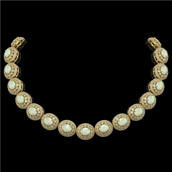 91.75 ctw Certified Opal & Diamond Victorian Necklace 14K Yellow Gold - REF-3090R4K