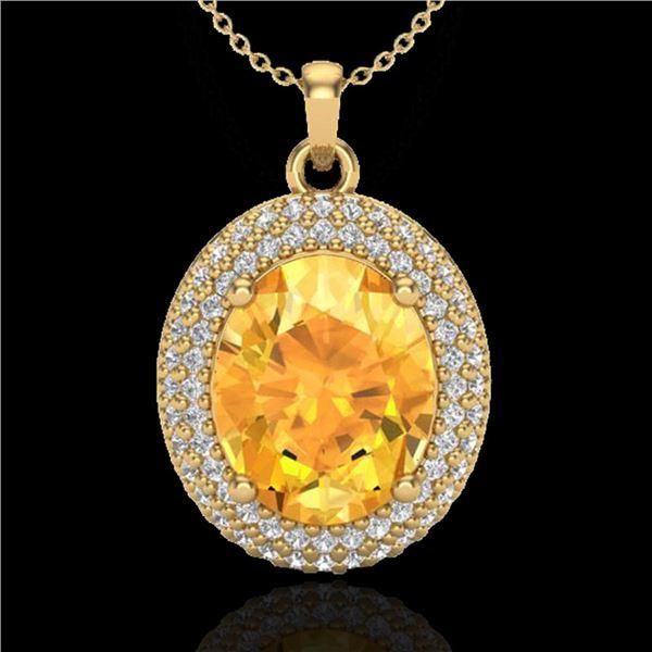 4 ctw Citrine & Micro Pave VS/SI Diamond Necklace 18k Yellow Gold - REF-92R4K
