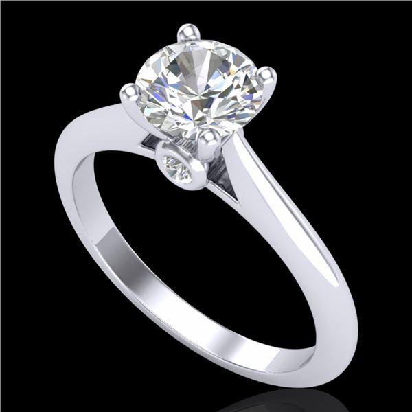 1.08 ctw VS/SI Diamond Solitaire Art Deco Ring 18k White Gold - REF-244X2A