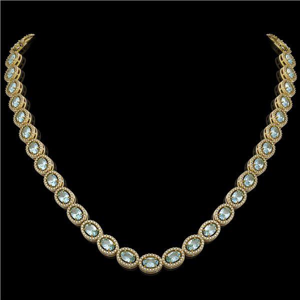 24.65 ctw Aquamarine & Diamond Micro Pave Halo Necklace 10k Yellow Gold - REF-600N2F