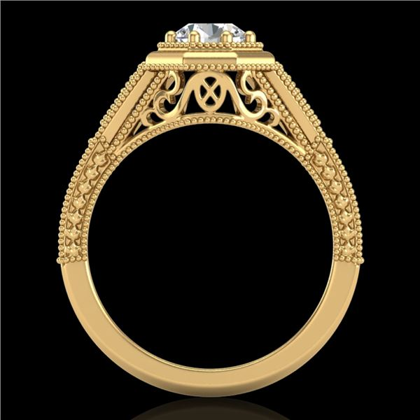 0.84 ctw VS/SI Diamond Solitaire Art Deco Ring 18k Yellow Gold - REF-236H4R