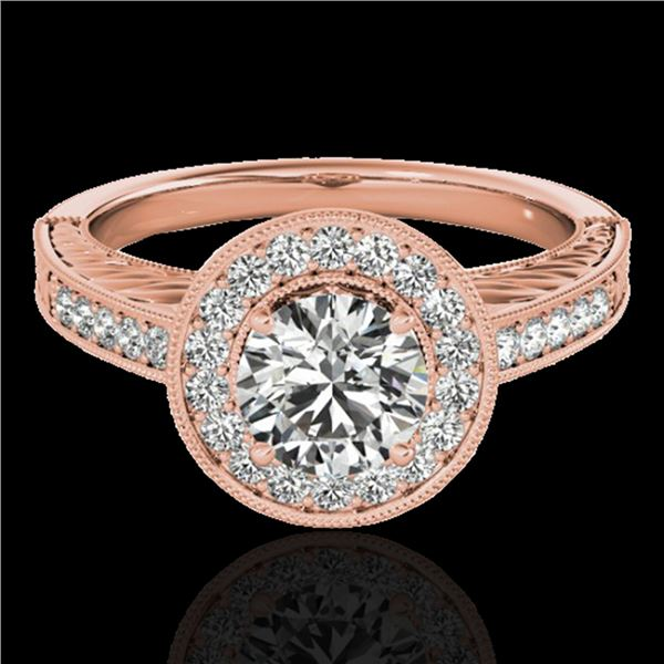 1.5 ctw Certified Diamond Solitaire Halo Ring 10k Rose Gold - REF-231X8A