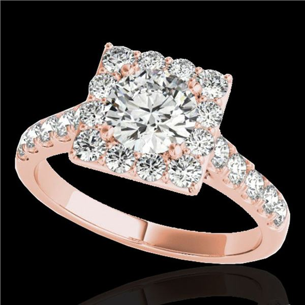 2 ctw Certified Diamond Solitaire Halo Ring 10k Rose Gold - REF-218W2H