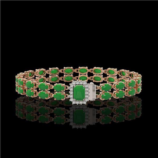 12.3 ctw Jade & Diamond Bracelet 14K Rose Gold - REF-236X4A