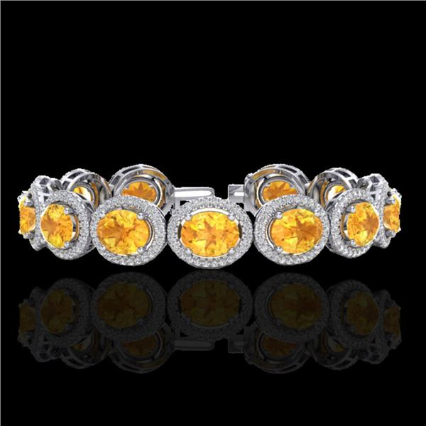 24 ctw Citrine & Micro Pave VS/SI Diamond Bracelet 10k White Gold - REF-360G2W