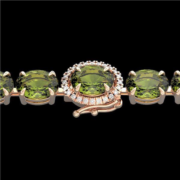 17.25 ctw Green Tourmaline & VS/SI Diamond Micro Bracelet 14k Rose Gold - REF-209A3N