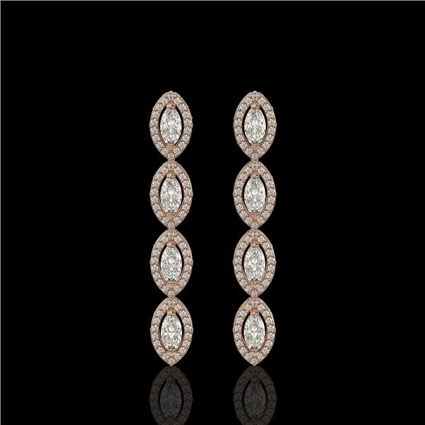 3.84 ctw Marquise Cut Diamond Micro Pave Earrings 18K Rose Gold - REF-334M6G