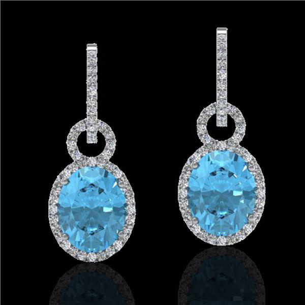 8 ctw Sky Blue Topaz & Micro Halo VS/SI Diamond Earrings 14k White Gold - REF-90M8G