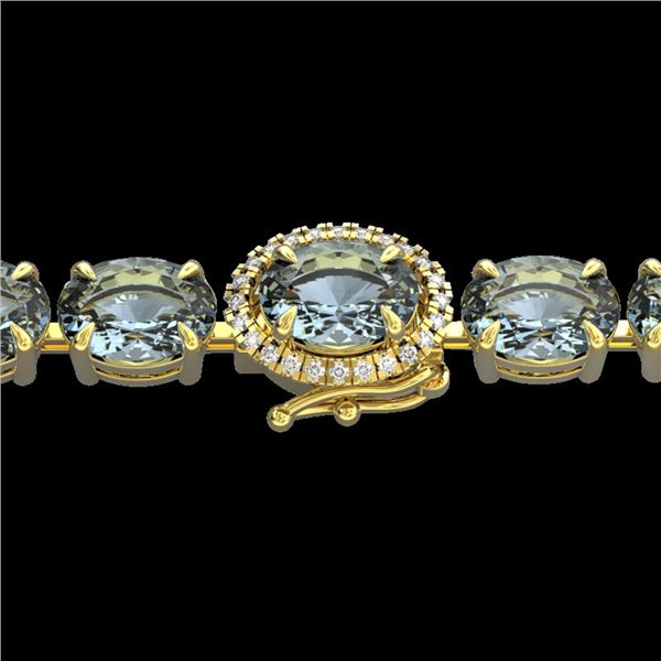 15.25 ctw Aquamarine & Diamond Eternity Micro Bracelet 14k Yellow Gold - REF-176W4H
