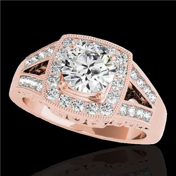 1.65 ctw Certified Diamond Solitaire Halo Ring 10k Rose Gold - REF-270R2K