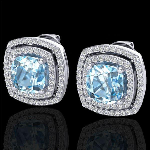 4.05 ctw Sky Blue Topaz & Micro VS/SI Diamond Earrings 18k White Gold - REF-104H4R