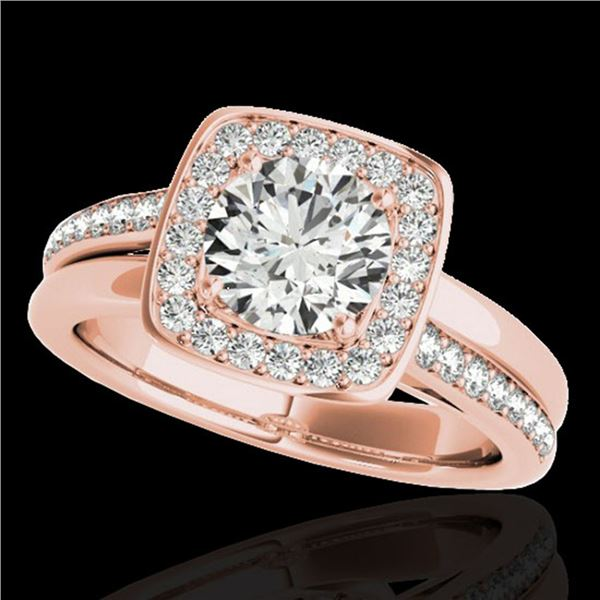 1.33 ctw Certified Diamond Solitaire Halo Ring 10k Rose Gold - REF-197M8G