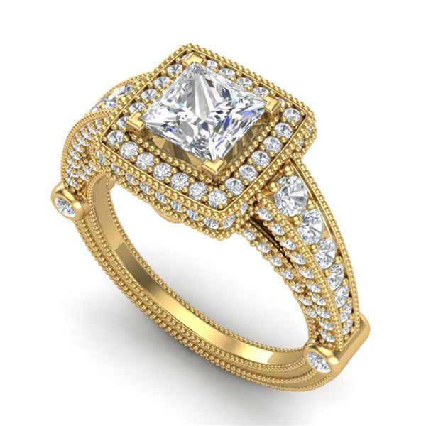 2.53 ctw Princess VS/SI Diamond Solitaire Art Deco Ring 18k Yellow Gold - REF-509Y3X